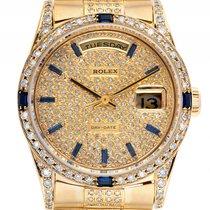 Rolex Day Date Custom Gelbgold Full Diamond Saphir Automatik...