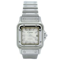 Cartier Santos Galbee Stainless Steel Guilloche Silver Dial...