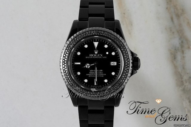 Rolex Double Row Diamond Bezel Black Coated DLC/PVD Sea Dweller