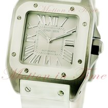 Cartier Santos 100 Medium Automatic, Silver Dial, White Rubber...