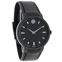 Movado Mens Carbon Dial Black Rubber Strap Swiss Quartz Watch...