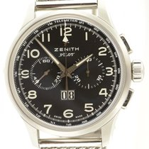Zenith Pilot Chronograph Steel Automatic Big Date Black Dial...