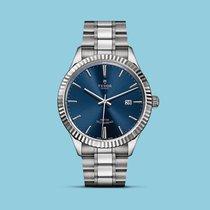 Tudor Style 41mm, geriffelte Lünette, Stahlband, blau -NEU-