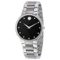 Movado Serio Diamond Black Dial Stainless Steel Mens Watch...