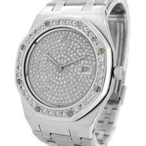 Audemars Piguet 18K White Gold Royal Oak, Original Diamond...