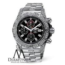Breitling Mens Breitling Super Avenger A13370 Black Dial Watch...