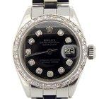 Rolex Stainless Steel Datejust Watch W/black Diamonds 6916