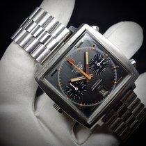 Heuer Monaco crono 1133 vintage acc/steel quadr.grigio/grey dial