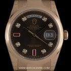 Rolex 18k R/G Unworn Chocolate Ruby Dia Dial Day Date B&P...