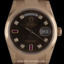 Rolex 18k R/G Unworn Chocolate Ruby Dia Dial Day-Date B&P...