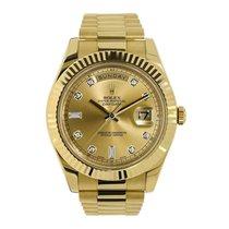 Rolex DAY-DATE II 41mm Yellow Gold Diamond Dial UNWORN