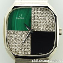 Omega Watch Onyx Malachite Diamonds 18k White Gold Cuff Links...