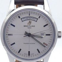 Breitling Transocean Day Date A45310 On Leather Strap &...
