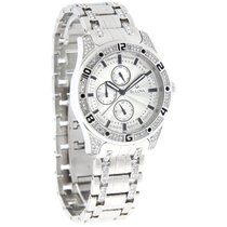 Bulova Mens Silver Day/Date Crystal Bracelet Quartz Watch 96C106