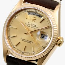 "Rolex 18K Yellow Gold 36mm Day-Date Brown ""Horween""..."