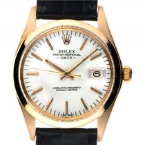 Rolex Oyster Perpetual Date Gelbgold Automatik Armband Leder...