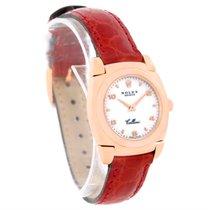 Rolex Cellini Cestello Ladies 18k Rose Gold Red Strap Watch 5310