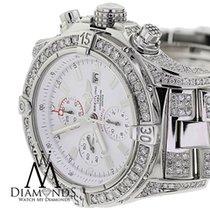 Breitling Super Avenger White A13370 Covered Over 13ct Diamond...