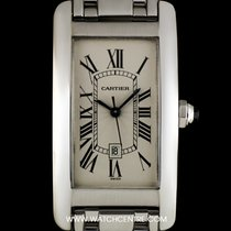 Cartier 18k W/Gold Silver Guilloche Dial Tank Americaine Mid-Size