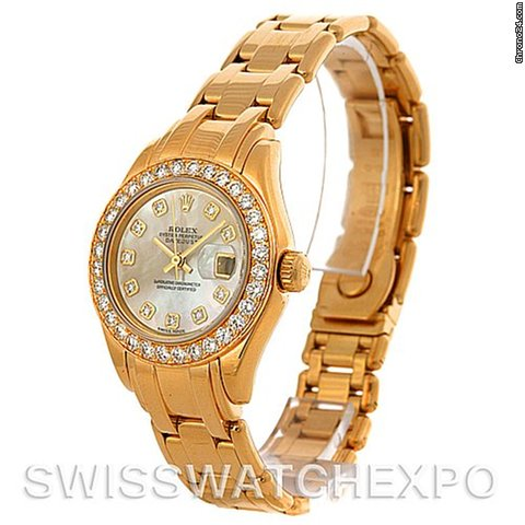 Rolex Pearlmaster 18k Yellow Gold Diamond Ladies Watch 802998mddp