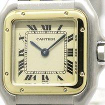 Cartier Polished Cartier Panthere 18k Gold Steel Quartz Ladies...