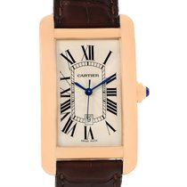 Cartier Tank Americaine Large 18k Rose Gold Brown Strap Watch...