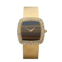 DeLaneau Vintage Tiger-eye Dial, Diamond Bezel 18k Yellow Gold...