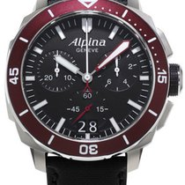Alpina Seastrong Diver 300 Black Leather Chronoghraph Al-372lb...