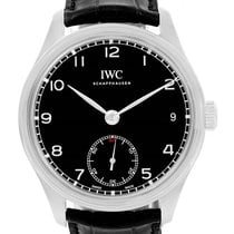 IWC Portuguese Hand Wound 8 Days Black Dial Mens Watch Iw510202