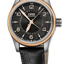 Oris Big Crown Pointer Date,Black Dial, Steel\Gold, Leather