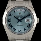 Rolex Unworn Platinum O/P Ice Blue Day-Date II B&P 218206