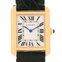 Cartier Tank Solo Small Yellow Gold Steel Black Strap Watch...
