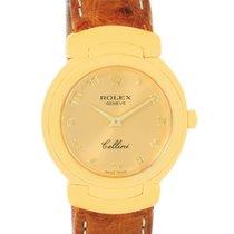 Rolex Cellini 18k Yellow Gold Brown Strap Ladies Watch 6621