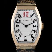 Cyma 14k Rose Gold Silver Arabic Dial Tonneau Vintage Gents Watch