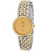 Omega 1990s De Ville 18K Yellow Gold/Steel Quartz Watch 795.111