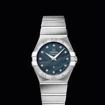 Omega Constellation Quartz 27mm Blue Dial with Diamonds T