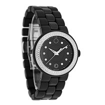 Movado Cerena Ladies Black Ceramic Diamond Swiss Quartz Watch...