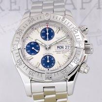 Breitling SuperOcean Chronograph 42mm white blue Klassiker B+P...