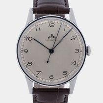 Tellus 1940 Bauhaus NOS Silver Dial