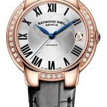 Raymond Weil Jasmine Silver Dial Rose Gold PVD Black Leather...