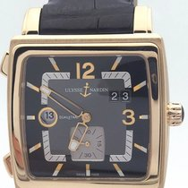 Ulysse Nardin 18k Rose Gold Quadratto 246-92 On Alligator Strap