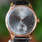 IWC Portuguese Hand Wound Rose Gold Ardoise Dial 44mm IW545406