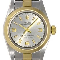 Rolex Ladies Oyster Perpetual 2-Tone Watch Silver Dial