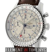 Breitling Navitimer World Stainless Steel 46mm Silver Dial...