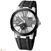 Ulysse Nardin Executive Dual Time Silver Dial Black Strap...