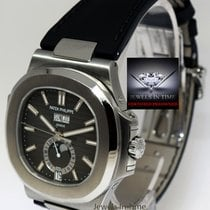 Patek Philippe Nautilus Steel Annual Calendar Moon Mens Watch...