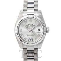 Rolex Lady Oyster Perpetual Silver/18k white gold G Ø26 mm -...