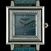 Patek Philippe 18k W/G Blue MOP Dial Diamond Set Gondolo...