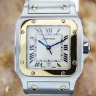 Cartier Santos Quartz 18k Gold And Ss Swiss Luxury Watch C2000...
