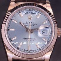Rolex Daydate rose gold/ Brown Aligator full set unused 118135
